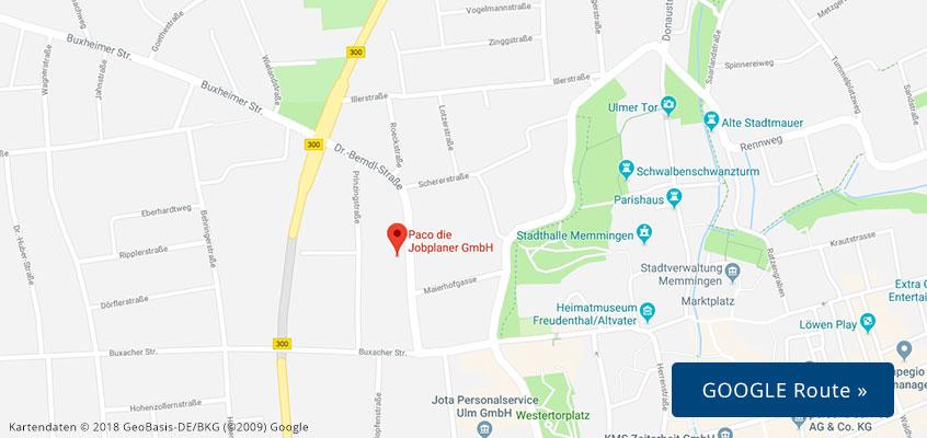 Karte PACO Memmingen - Route